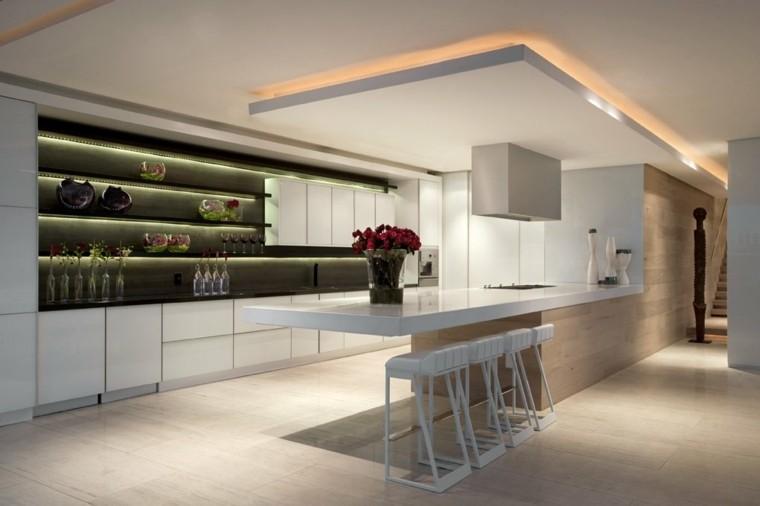 espacio en blanco cocina minimalista pared negra ideas