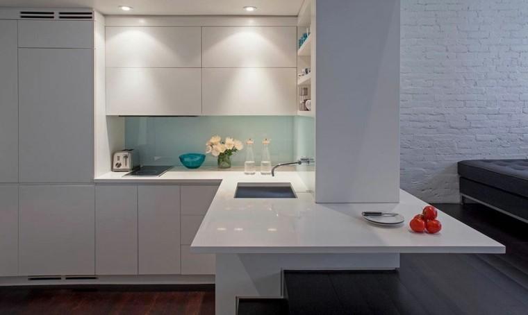 espacios en blanco cocina minimalista pequena estrecha ideas