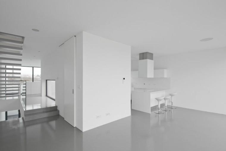 espacio en blanco cocina minimalista sillas altas ideas