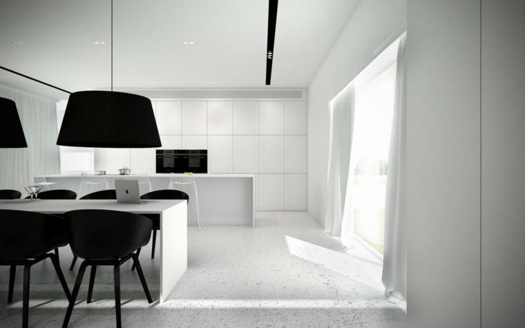 espacio en blanco cocina minimalista sillas negras ideas