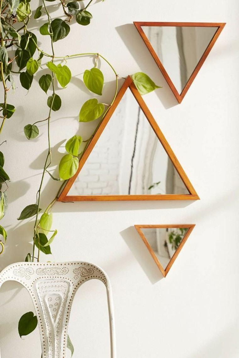 espejos forma triangulos modernos estilo boho ideas