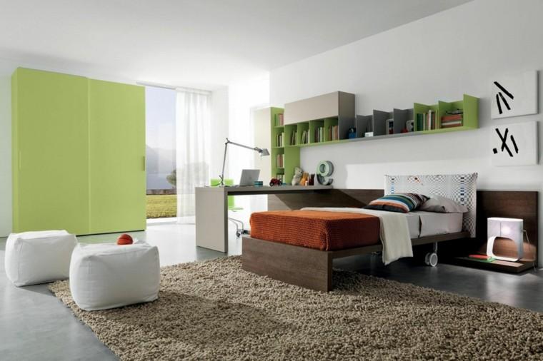estante cama armario cuadros alfombra
