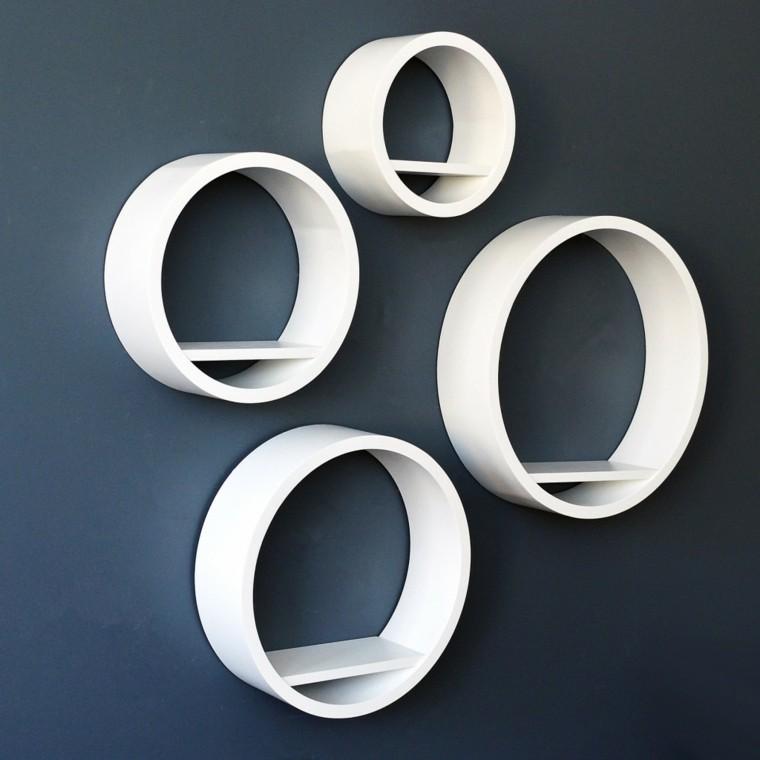 estanterías forma geométrica circulos blancos pared ideas