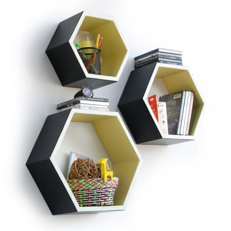estanterias formas geometricas pared negro amarillo ideas