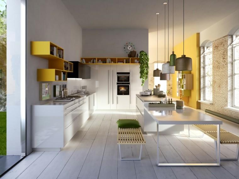 estanterias pared amarilla mesa blanca isla ideas