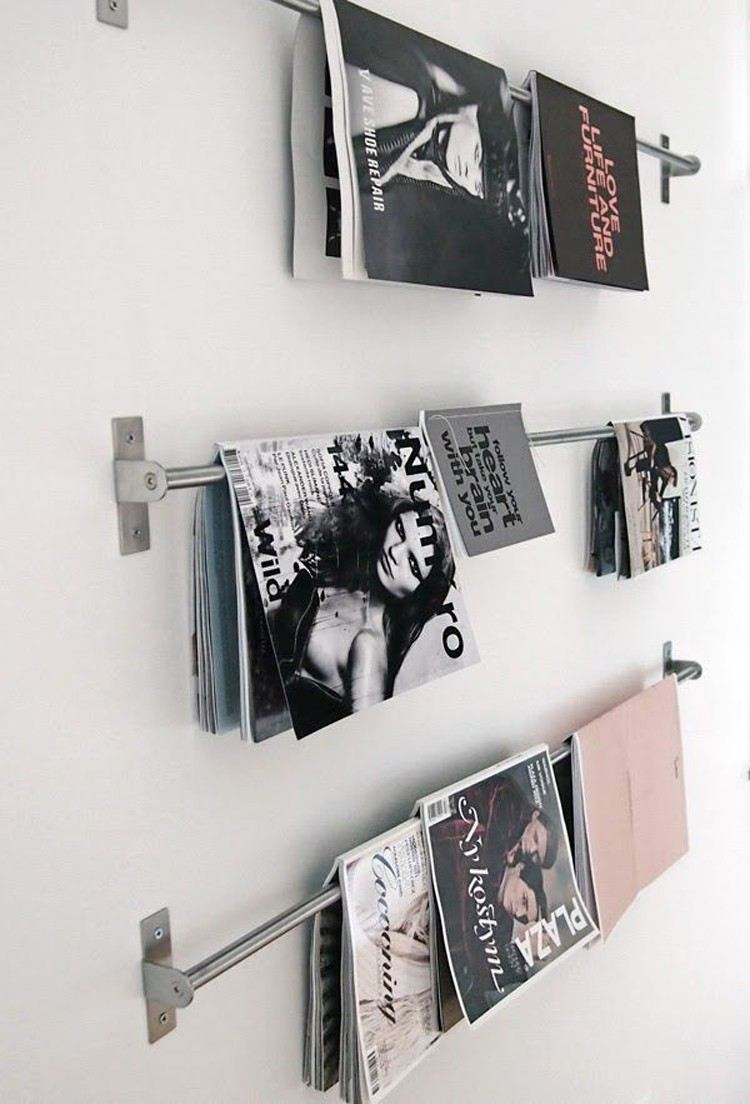 estanterias revistas hechas mano pared ideas