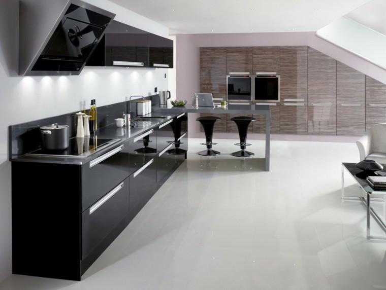 estantes alargada cocina negro taburetes