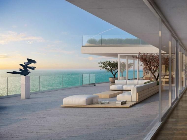 estatua terraza moderna muebles blancos ideas