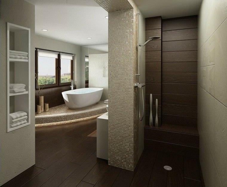 estetica madera oscura toallas bañera