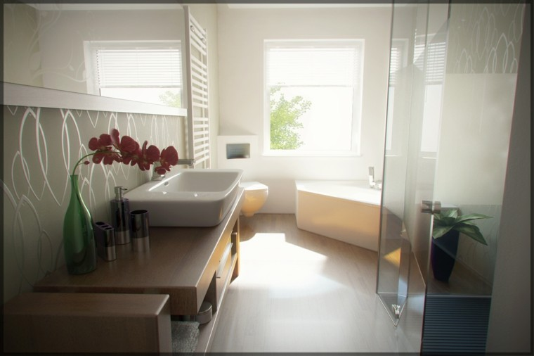estilo contemporaneo bano lavabo madera ideas