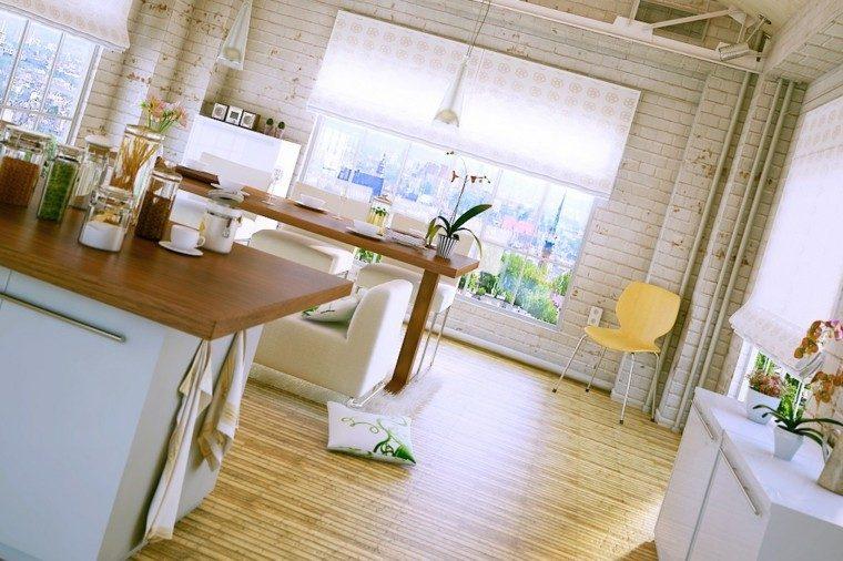 estilo industrial cocina moderna isla suelo-madera ideas