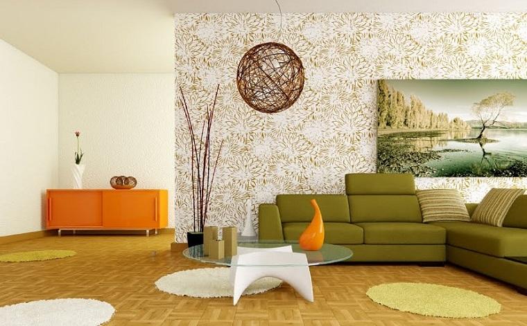 estilo retro salon naranja blanco ideas