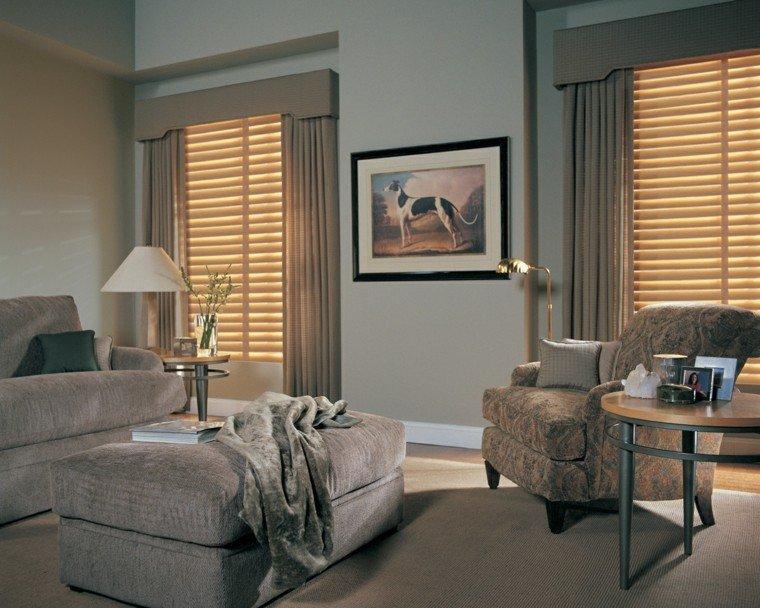 estores cortinas salon taburete sofa gris ideas
