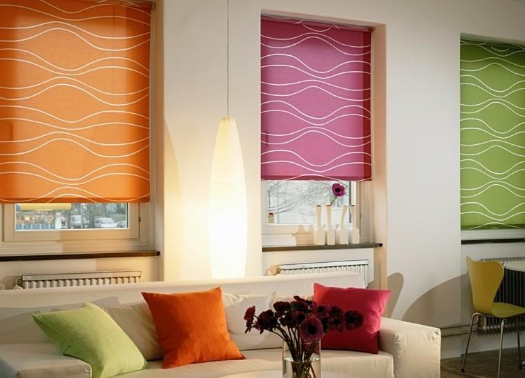 estores distintos colores ventana salon moderno ideas estores plegables cortina