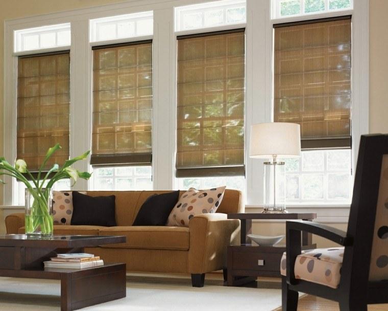 estores salón amplio sofa color mostaza ideas