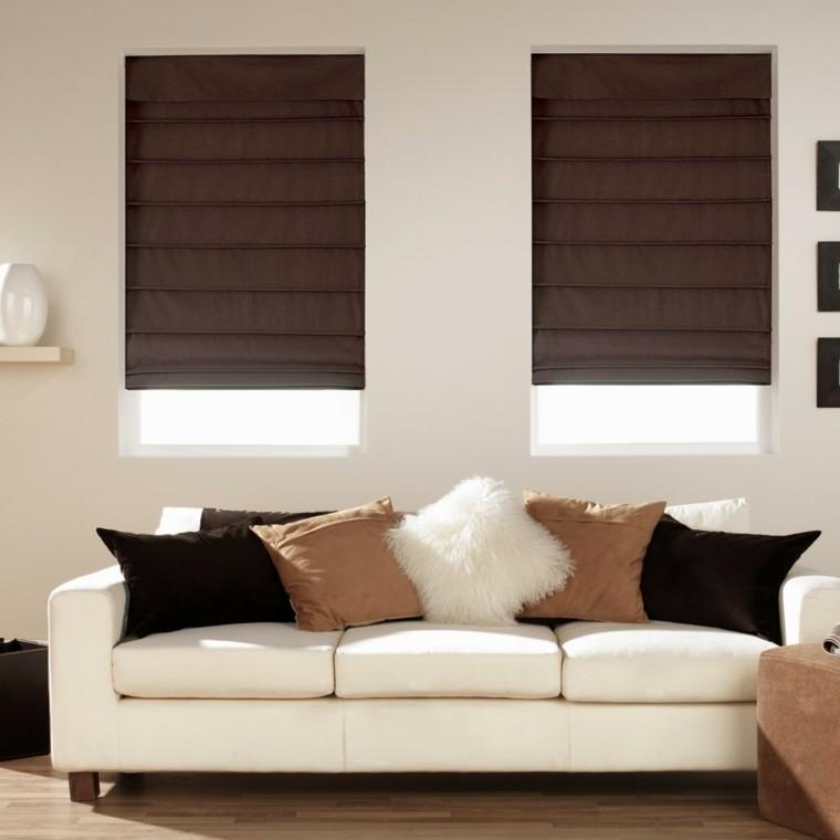 estores salon sofa blanca cojines moderno ideas