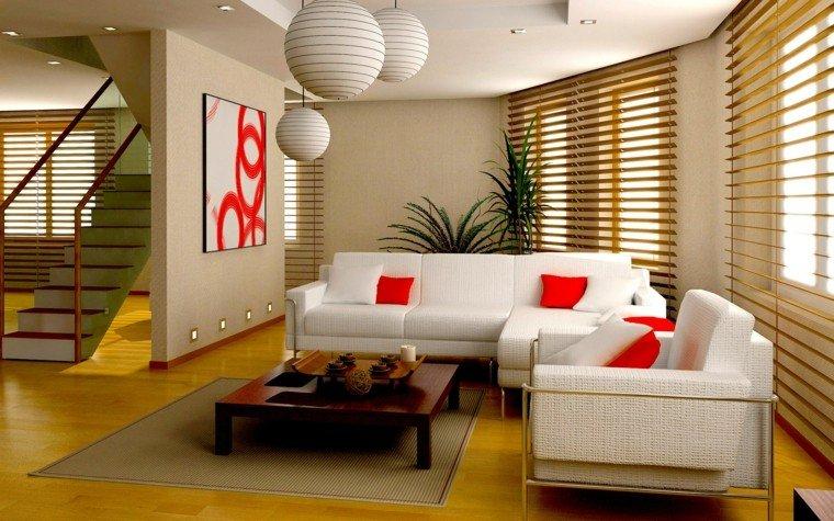estores salón sofa blanca cojines rojos ideas