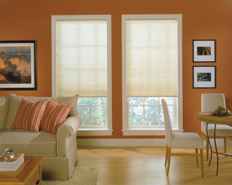 estores salón tela pared naranja oscuro ideas