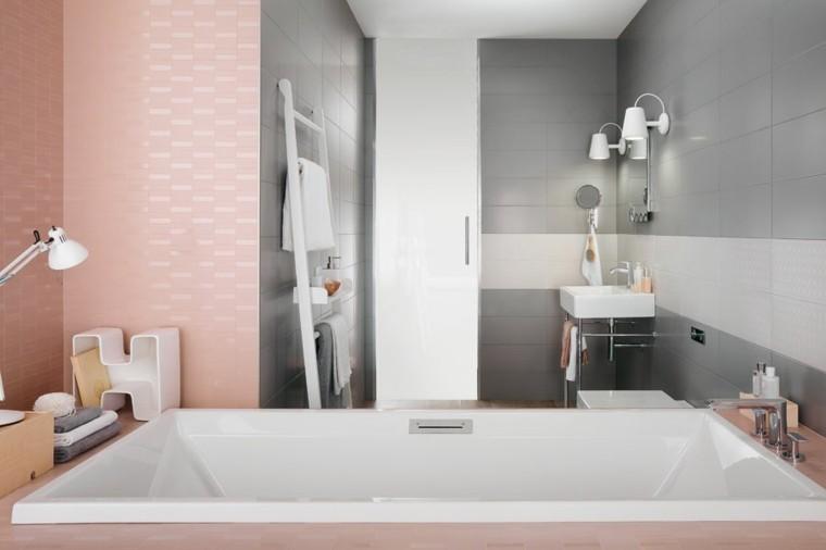 estupendo diseño baño rosa gris