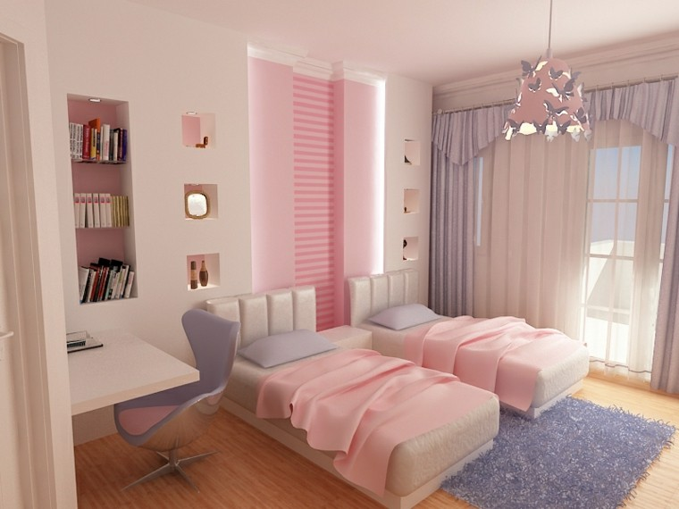 estupenda habitacion juvenil chica rosa