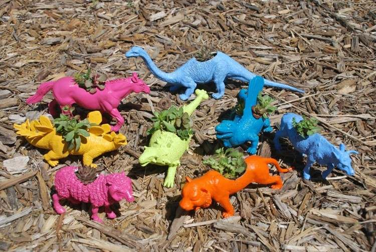 estupendo diseño animales macetas colores