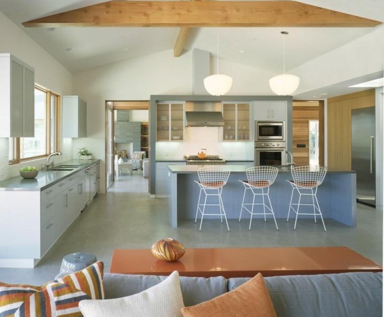 estupendo diseño cocina color celeste