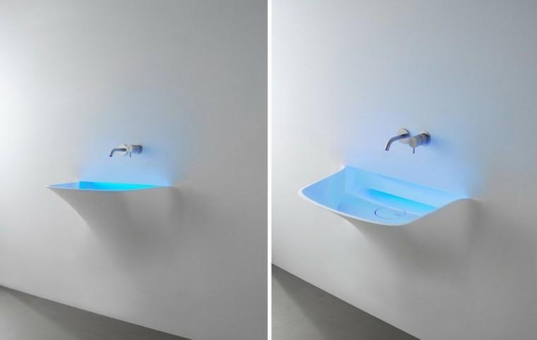 estupendo diseño lavabo integrado pared