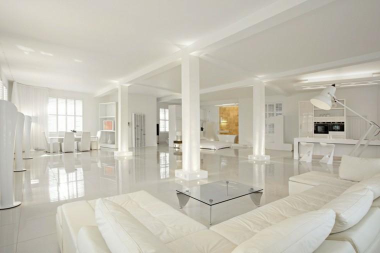 exito diseno salon moderno amplio mesa cristal muebles blancos ideas