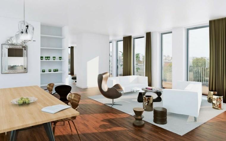 exito diseno salon moderno estantes blancos velas mesa madera ideas