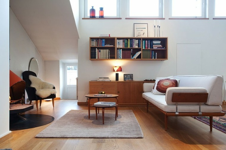 exito diseno salon moderno estilo escandinavo estantes madera ideas