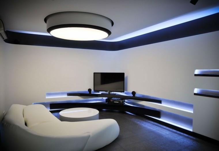 exito diseno salon moderno iluminacion led sofa blanca ideas