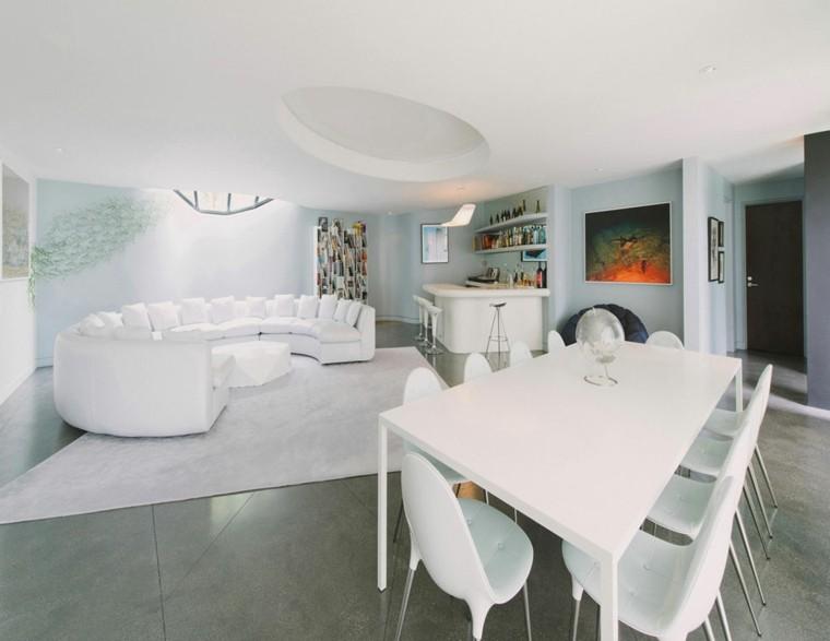 exito diseno salon moderno muebles blancos alfombra minimalista ideas