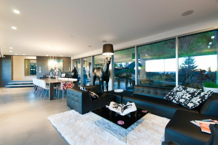 exito diseno salon moderno muebles negros caballo negro ideas
