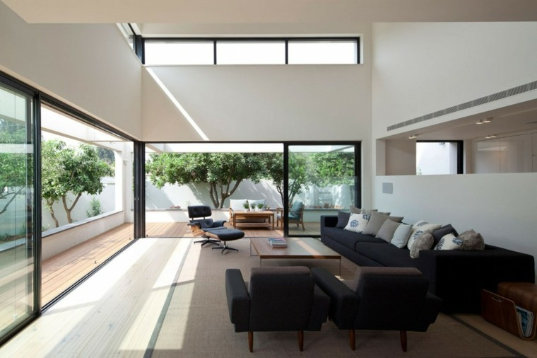 exito diseno salon moderno muebles negros ventanas ideas
