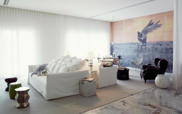 diseno salon moderno sofa blanca mesas preciosas ideas