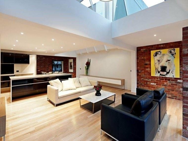 diseno salon moderno sofa negra blanca combinacion ideas