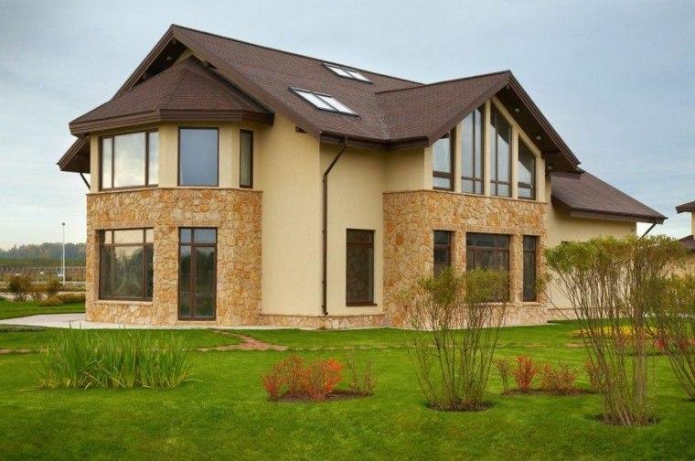 Recorte de casa con masonrey de piedra en estilo de fachada rural
