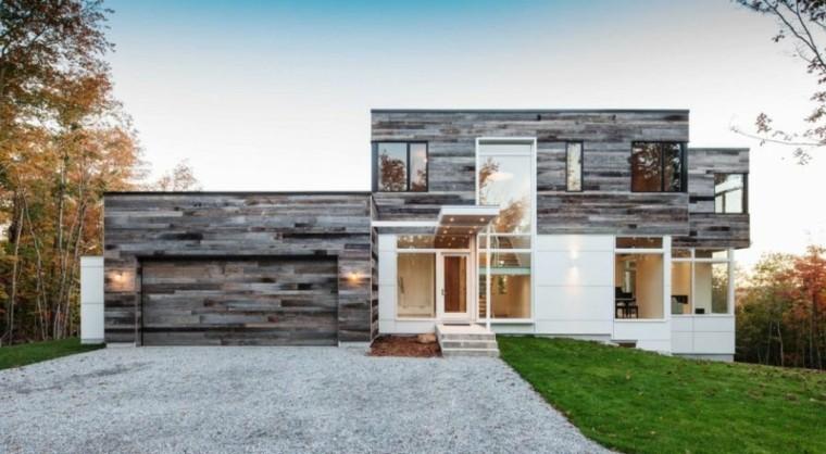fachadas de casas rusticas modernas madera - Fachadas Rusticas