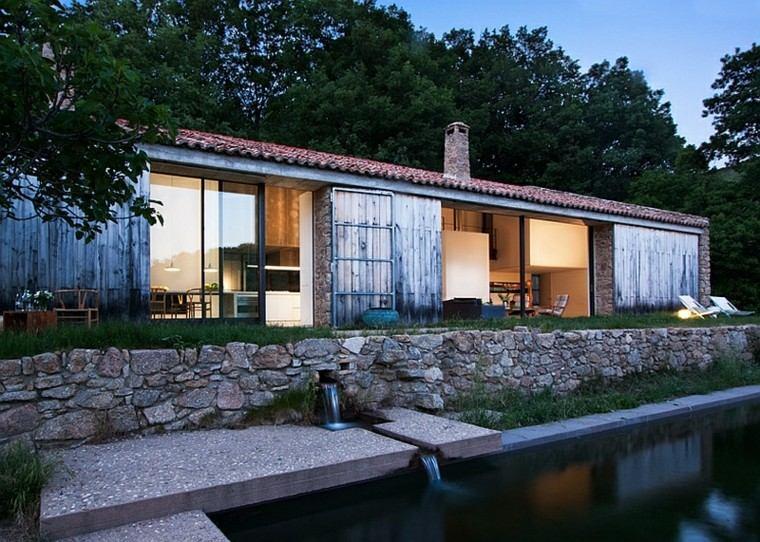 fachadas de casas rusticas lago piedra