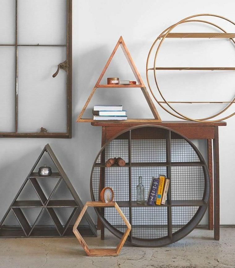 figuras geométricas decorar pared preciosas modernas ideas