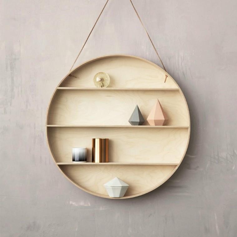 figuras geometricas estanterias circulo madera colgando pared ideas