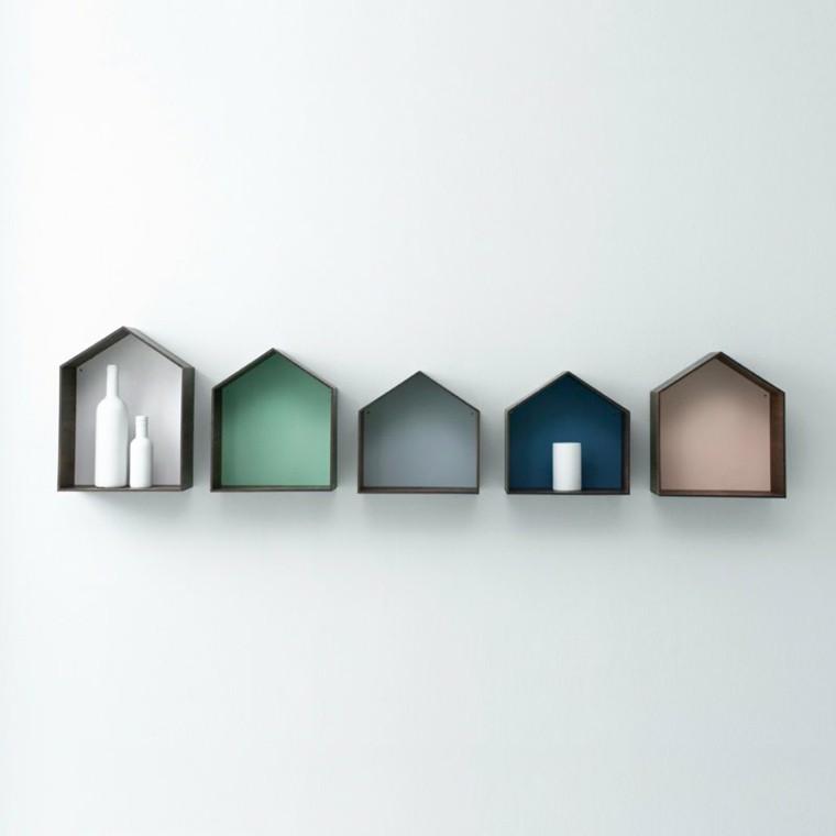 figuras geométricas estanterias distintos tamanos pared ideas