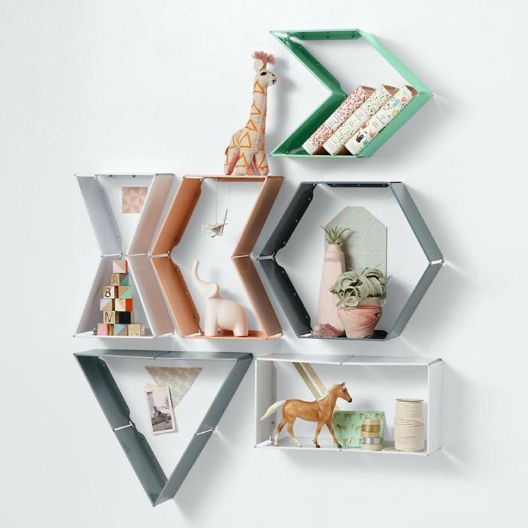 figuras geométricas estanterias formas colores distintos ideas
