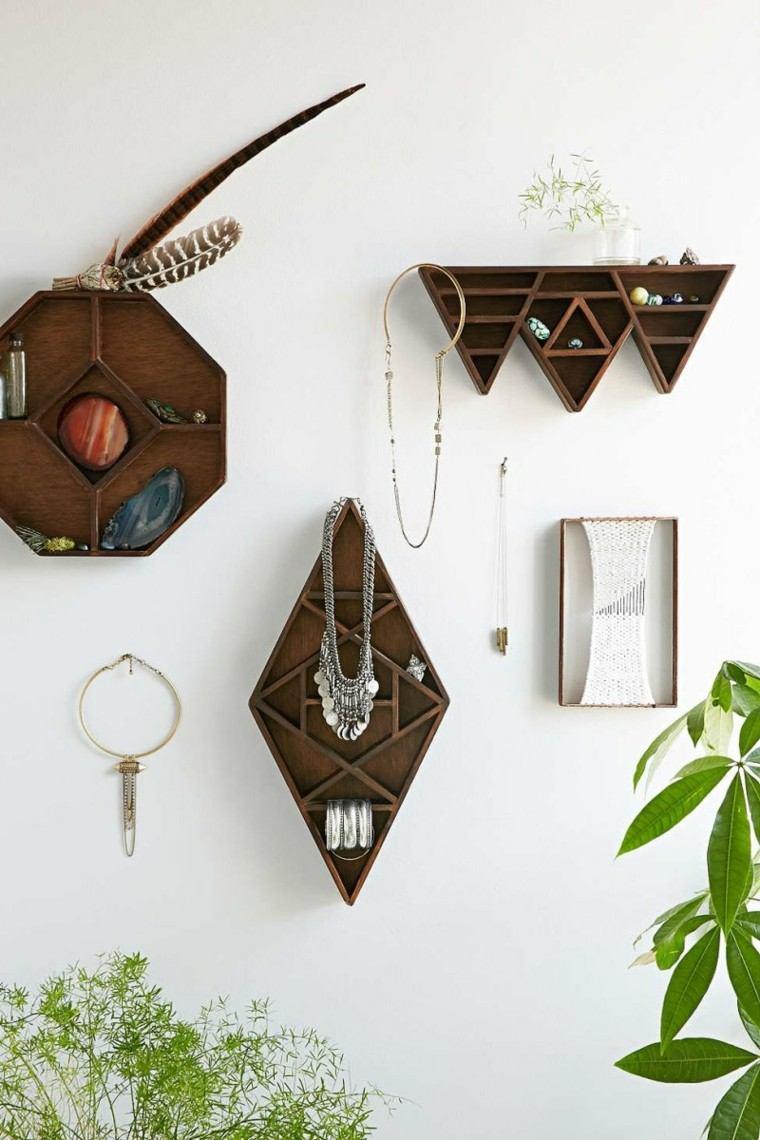 figuras geometricas estanterias madera distintas formas ideas