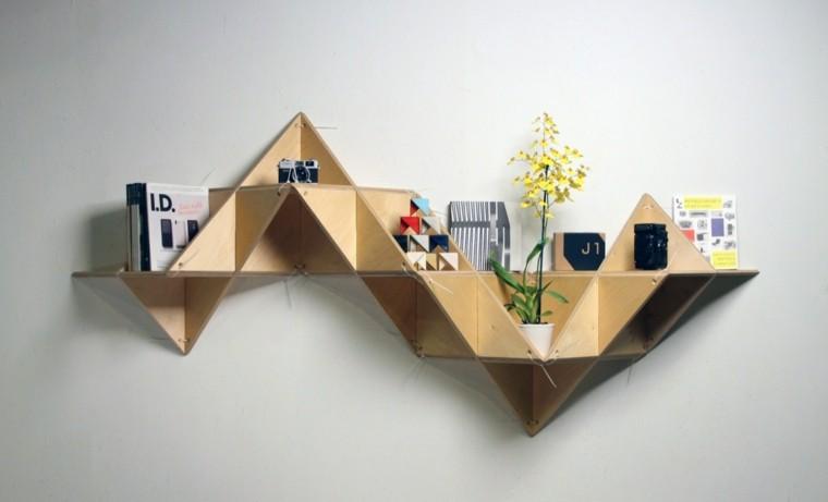 figuras geométricas estanterias original pared ideas