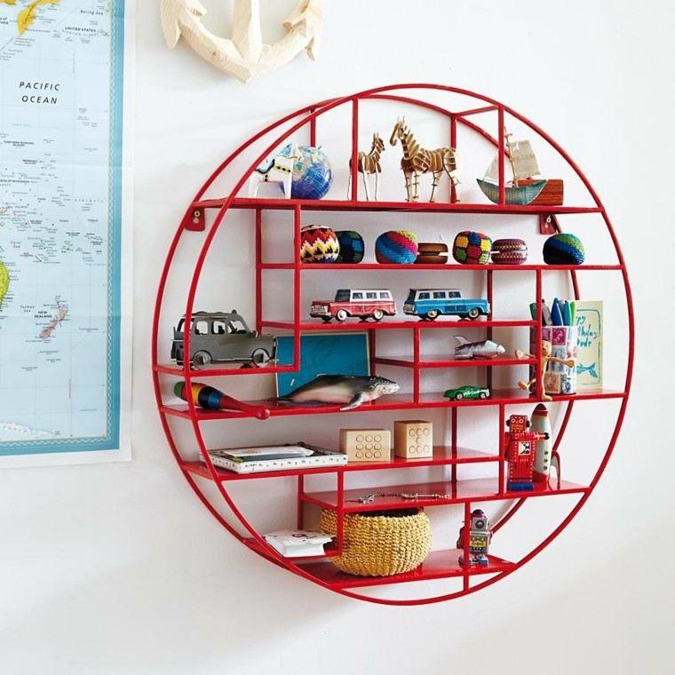 figuras geométricas estanterias roja pared habitacion nino ideas