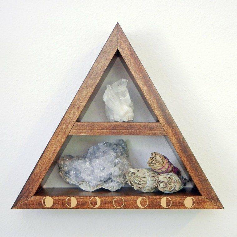 figuras geométricas estanterias triangulo pequeno madera ideas