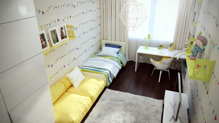 fotos estanterias papel pared bonito sofa amarillo ideas