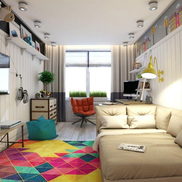 fotos juveniles alfombra colores vibrantes ideas