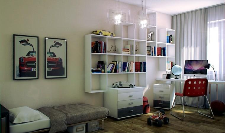 fotos habitaciones juveniles estanterias blancas ideas